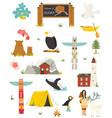 set alaska colorful symbols landmarks animals vector image vector image