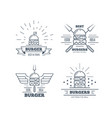 set burgers badge design line art vector image vector image