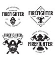set firefighter volunteer rescue team emblems vector image