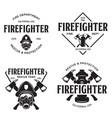 set firefighter volunteer rescue team emblems vector image