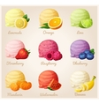 Set of cartoon icons Ice cream scoops with vector image vector image