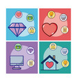 set of money and love icons vector image vector image