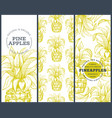 set tree pineapple banner templates hand drawn vector image vector image