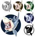 Sharks set assorted colors in the circle vector image vector image