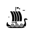 ship wooden viking icon vector image