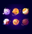 space with food planets pizza and candy texture vector image vector image