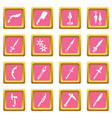 steel arms items icons set pink square vector image