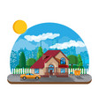 suburban family house countryside wooden house vector image vector image