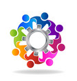 teamwork of people with cog gear icon vector image vector image