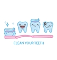 Teeth and toothbrush kawaii cartoon pack vector image