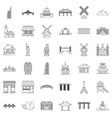 tourist icons set outline style vector image vector image