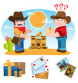 two men postmen cowboys indicate at the post vector image