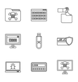 Viruses icons set outline style