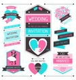Wedding invitation retro set of design elements vector image