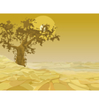 yellow landscape tree in the desert vector image vector image