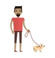 Young Man Walking His Dog vector image