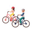 young pretty woman riding bicycle cycling vector image vector image