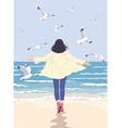 young woman enjoy sea coast vector image vector image
