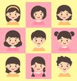 cute kids face avatar cartoon character set vector image