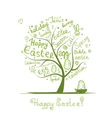 Easter tree sketch for your design vector image