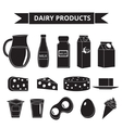 Dairy products icon set silhouette style Milk vector image
