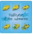 Modification of the submarines six icons vector image