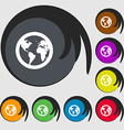 Globe icon sign Symbols on eight colored buttons vector image