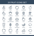 25 fruit icons vector image vector image