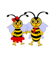 A couple of funny cartoon bees vector image vector image