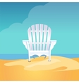 Adirondack chair on the sea beach standing on the vector image vector image