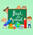 back to school school board with funny kids vector image vector image