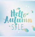 banner hello autumn sale with feathers vector image vector image