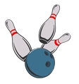 Bowling ball and pins vector image