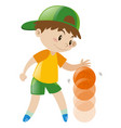 boy bouncing basketball with one hand vector image