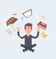 business man sitting in lotus pose with flying vector image