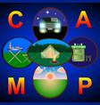 camping hiking road travel and picnic vector image