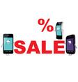 Discount for smartphones sale vector image vector image