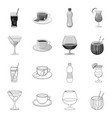 drink and bar icon set of vector image vector image