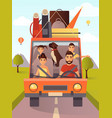 family traveling by car in vector image
