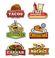 fast food retro symbols with snack and desserts vector image vector image