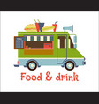 fast food trailer with burger isolated on white vector image vector image