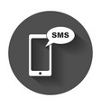 flat smartphone icon sms message phone with long vector image