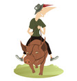 funny smiling man rides on the fat pig vector image