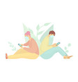 girl and guy spend time on social networks vector image vector image