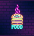 glowing neon light signboard fast food vector image