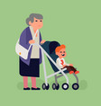 grandma with little grandchild vector image vector image