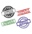 grunge textured assembled in united states stamp vector image vector image