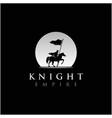 horseback knight silhouette logo horse warrior vector image vector image
