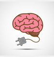 human brain with an electric plug vector image vector image