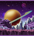 ice rocks on cartoon planet scenery vector image vector image